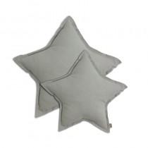 Coussin coton étoile - Gris clair