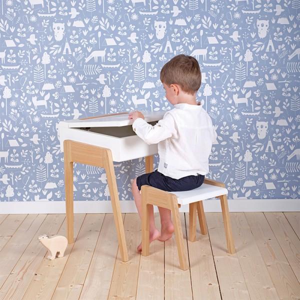 Bureau enfant My Little Pupitre, blanc et chêne blanchi