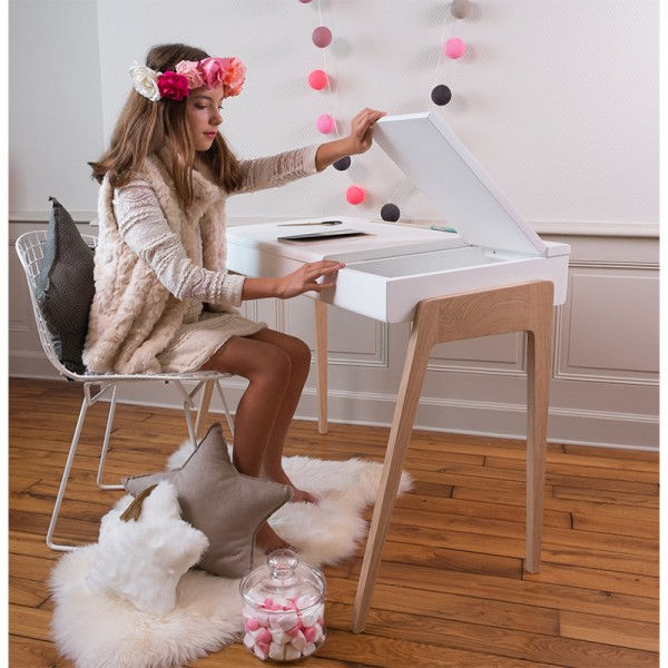 Bureau junior My Great Pupitre, rose rétro et chêne blanchi
