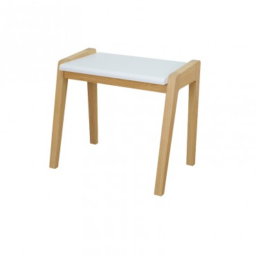 Tabouret grand My Great Pupitre, blanc et chêne blanchi