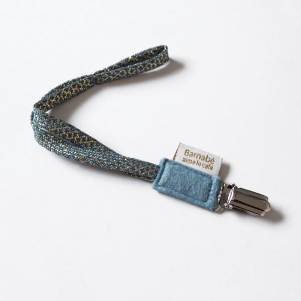 Attache tétine, Coton et lurex - Aqua