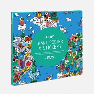 Poster coloriage géant et stickers - Atlas