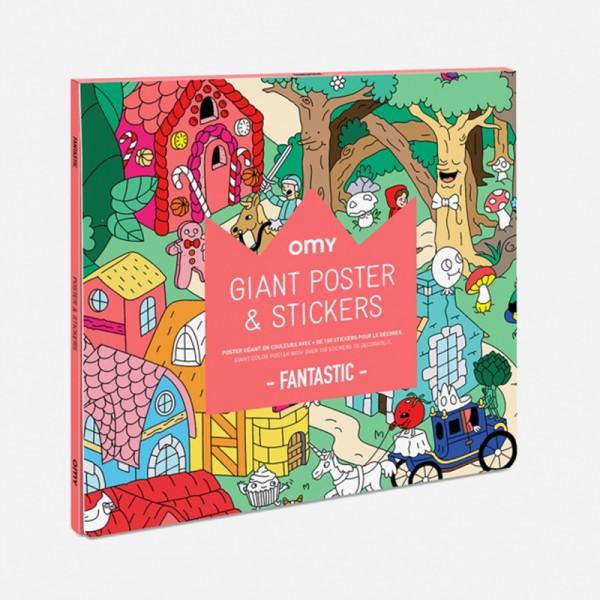 Poster coloriage géant et stickers - Fantastic