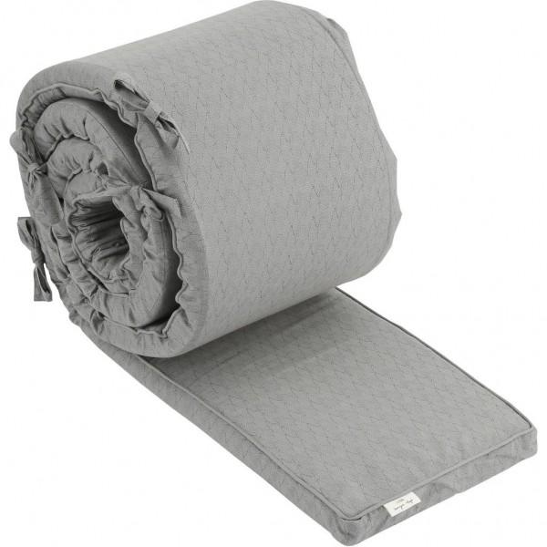 Tour de lit en coton bio - Vagues, gris