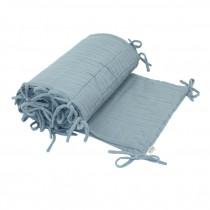 Tour de lit en lange de coton bio - bleu clair