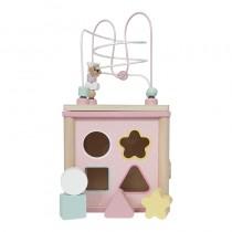 Cube d'activités en bois - rose