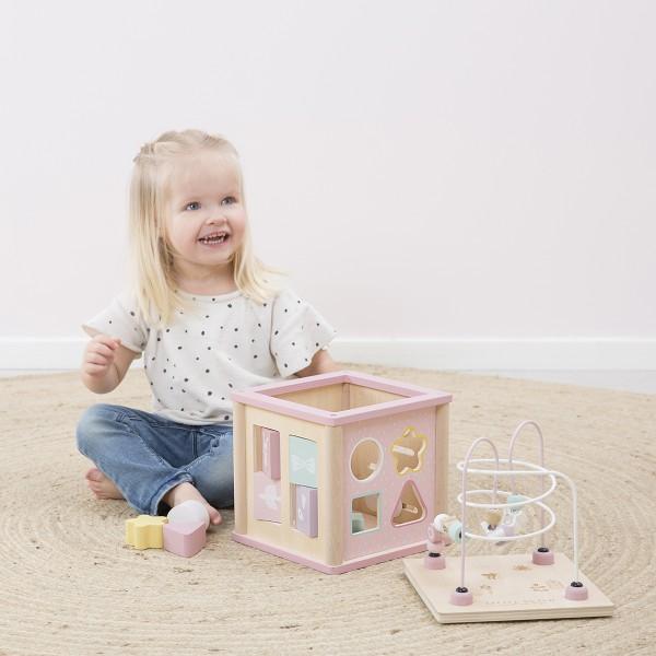 Cube d'activité en bois - rose