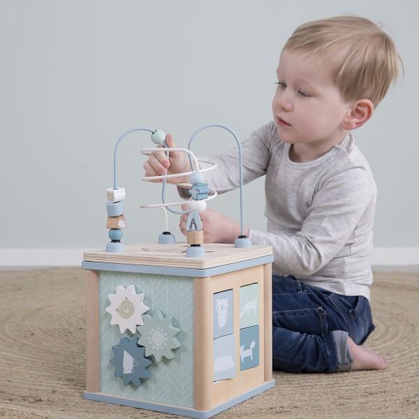 Cube d'activité en bois - bleu