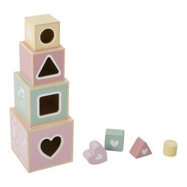 Cubes à empiler en bois - rose