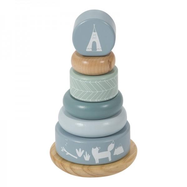 Pyramide anneaux à empiler en bois - bleu