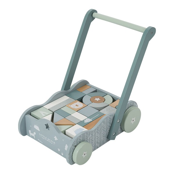 Chariot avec blocs de construction en bois - Bleu