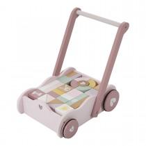Chariot de marche avec blocs de construction - Rose