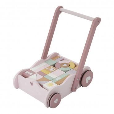 Chariot avec blocs de construction en bois - Rose