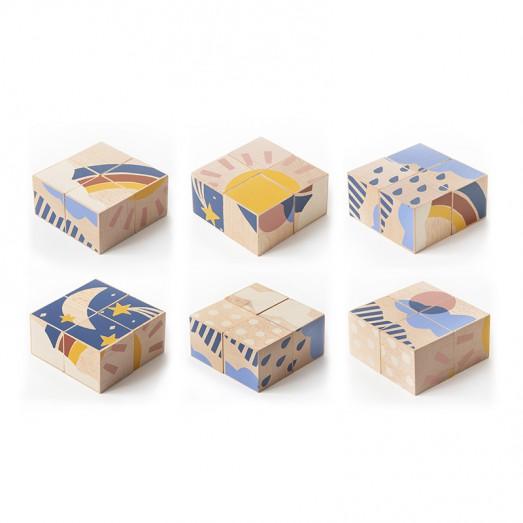 Cube puzzle en bois - Météo