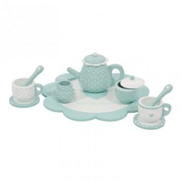 Service à thé en bois - Vert d'eau