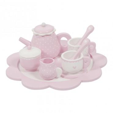 Service à thé en bois - Rose