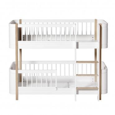 Lits superposés Wood Mini + en Blanc et chêne