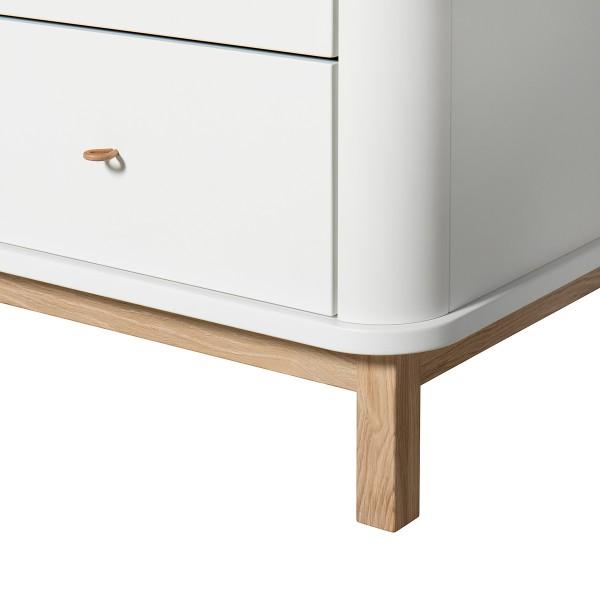 Commode 6 tiroirs Wood en Blanc et chêne