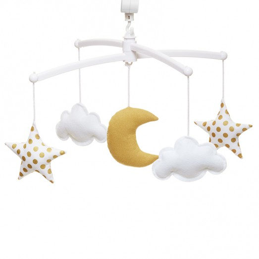 Mobile musical bébé - Lune et étoiles, Gold