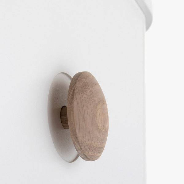Armoire Wood 2 portes, en Blanc et chêne