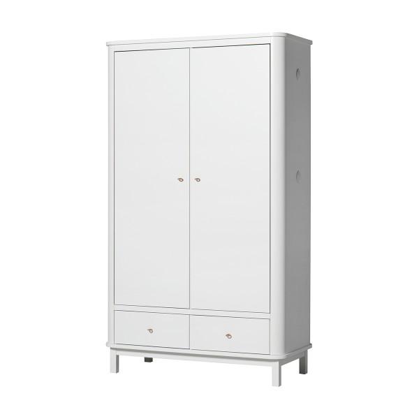 Armoire Wood 2 portes, en Blanc