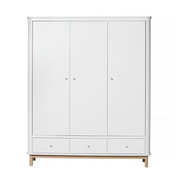 Armoire Wood 3 portes, en Blanc et chêne