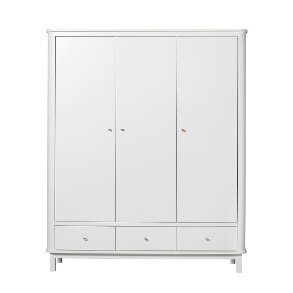 Armoire Wood 3 portes, en Blanc