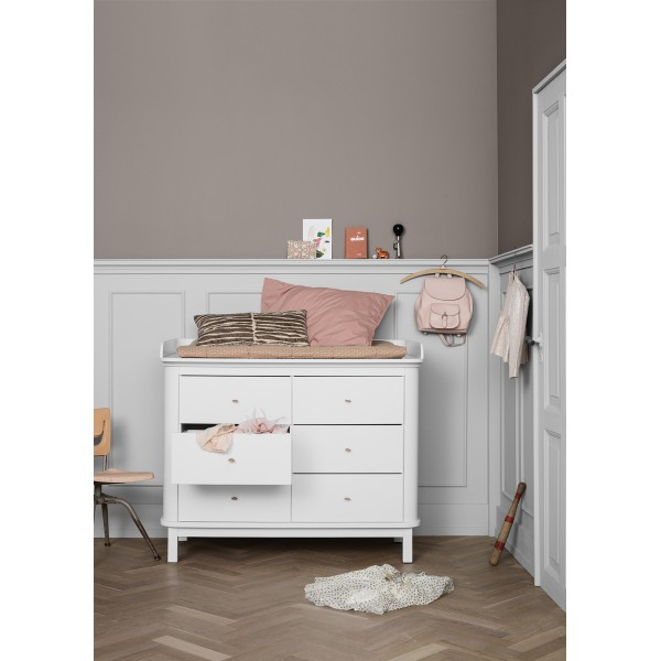 Commode 6 tiroirs Wood en Blanc