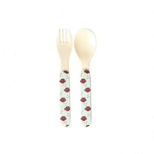 Set cuillère et fourchette mélamine - Monkey