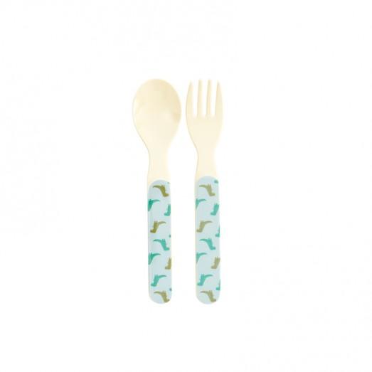 Set cuillère et fourchette mélamine - Dino