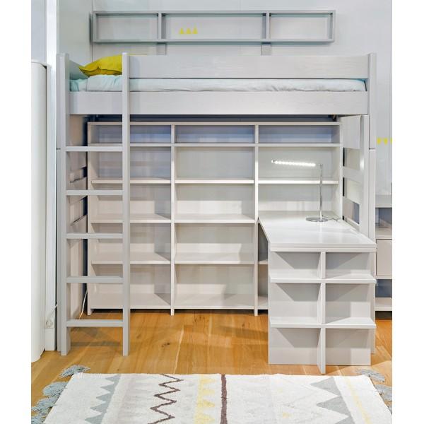 Lit mezzanine H186 cm gris perle + Bureau coin et allonge + Bibliothèque surélevé 186 + Bureau Madaket 120 et joue