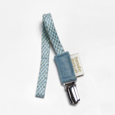 Attache tétine, Coton et lurex - Azur