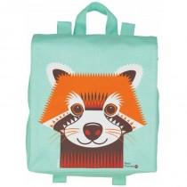 Petit cartable en coton bio - Panda roux vert d'eau