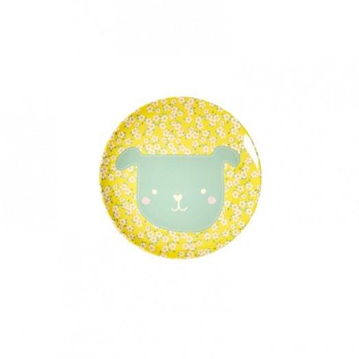 Petite assiette imprimée mélamine - Animal Chien Petites fleurs