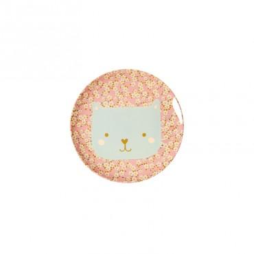 Petite assiette imprimée mélamine - Animal Chat Petites fleurs