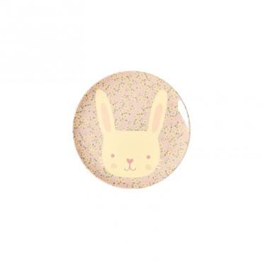 Petite assiette imprimée mélamine - Animal Lapin Petites fleurs