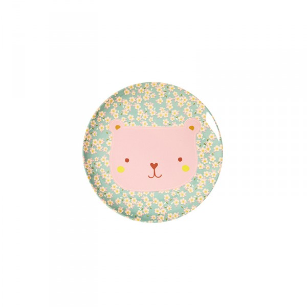Petite assiette imprimée mélamine - Animal Ours Petites fleurs