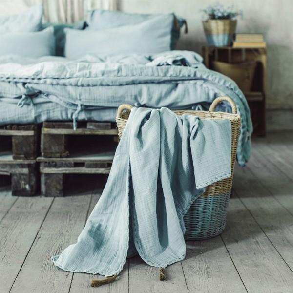 Couverture d'été coton bio 80 x 110 cm - Sweet blue