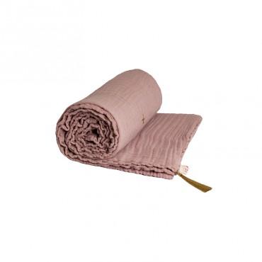 Couverture d'été coton bio 80 x 110 cm - Vieux rose