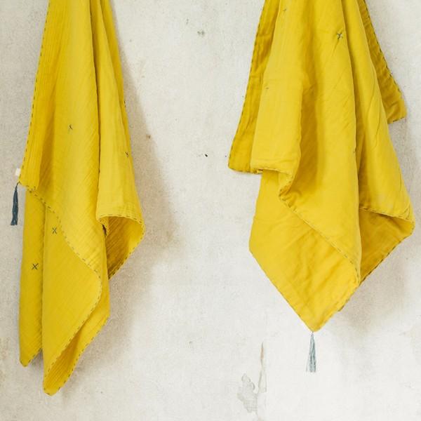 Couverture d'été coton bio 140 x 190 cm - Jaune