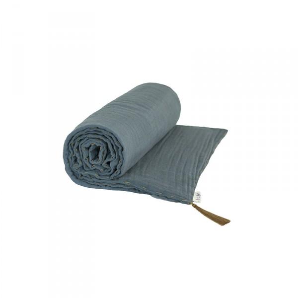 Couverture d'été coton bio 140 x 190 cm - Bleu gris