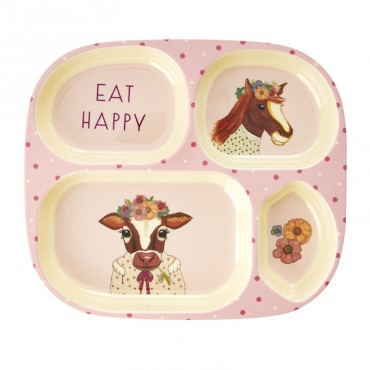 Assiette compartimentée mélamine - Farm Animals rose