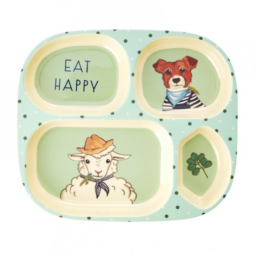 Assiette compartimentée mélamine - Farm Animals vert