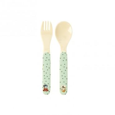 Set cuillère et fourchette mélamine - Farm Animals vert