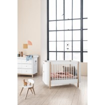 Lit bébé évolutif Wood Mini + - Blanc et chêne