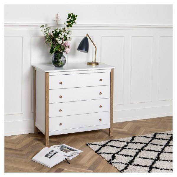 Commode 4 tiroirs Wood en Blanc et chêne