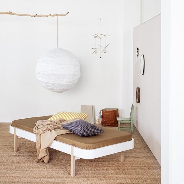 Lit Wood Lounger 90 x 200 - Blanc et chêne