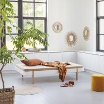 Lit Wood Lounger 120 x 200 - Blanc et chêne