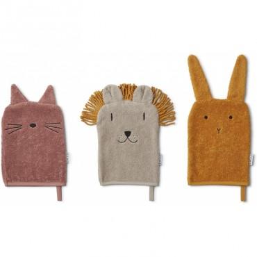 Lot de 3 gants de toilette Sylvester - Lion