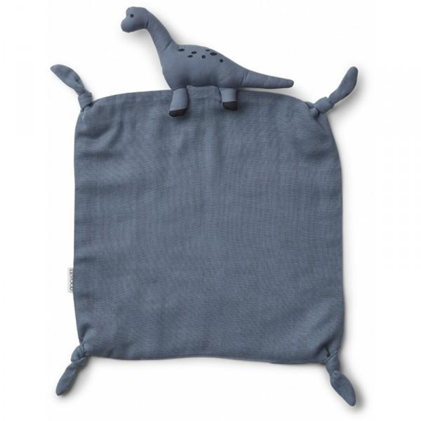 Doudou carré Agnete - Dino bleu